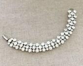 White Flower Rhinestone Bracelet, Signed LERU Rhinestone Bracelet, Spring Wedding Bracelet, Vintage Rhinestone Jewelry Bracelet