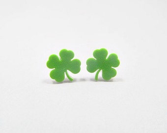St. Patricks Day Shamrock Stud Earrings 4 leaf clover, Green Clover