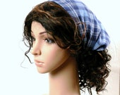 Denim Blue Headband Head Scarf Boho Hippie Fashion Handmade Hair Wrap in Soft Cotton Denim Blue Woven Plaid