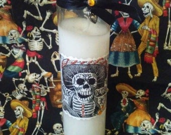 Dia de los Muertos candle, glittered Day of the Dead, prayer candle