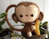 Monkey Amigurumi- MADE to ORDER- Cheeky Monkey with banana