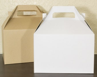 5 White or Kraft colored Boxes - Favor Box - Party Box -  gift box - food safe boxes -  lunch box - foldable box - treatbox
