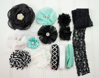 Vintage Inspirations - Elegant Beauty Headband Starter Kit - Coordinating Elastic and Flowers to create hairbands