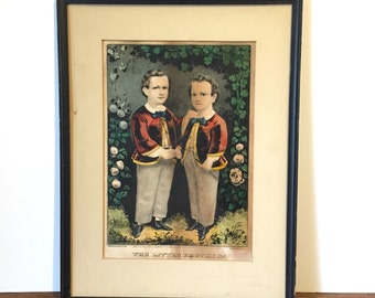 Currier and Ives Lithograph, Antique Print, The Little Brothers