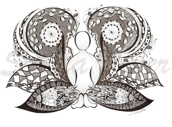 Yoga Art  Zentangle BUTTERFLY - print from original design and drawing, yoga wall decor