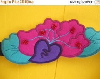 on sale Flower Belt Vintage Belt Art to Wear Adjustable Velcro Beaded Embellished Boho Applique