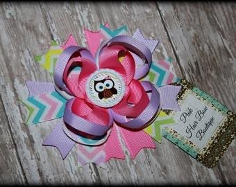 Owl Hair Bow - Cute Boutique Hair Bow - 5 inch Hair Bow - Easter Hair bow - Owl boutique Bow - Chevron hair bow - Spring Hair Bow