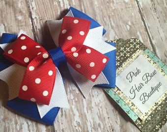 Small red white a blue hair bow - 4th of July bow