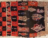 FREE SHIPPING WORLDWIDE TT22146 vintage boucherouite rug, moroccan rugs , rag rug, berber tribal art, morocco carpets, wall art