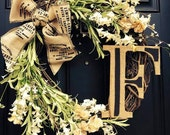 "Farmhouse Monogram Wreath- Natural style, 16"" Custom made with jute and natural look greenery and custom monogram"