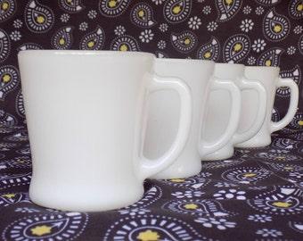 Fire King D Handle Restaurant Ware Mugs, Set of 4 White Milk Glass Mugs