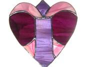 VICTORIAN Valentine, STAINED GLASS, Deep Purple, Pink, Violet, iridescent, interior home decor, copper