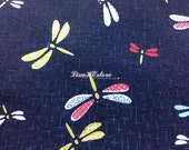 Dragonfly, navy blue, 1/2 yard, pure cotton fabric