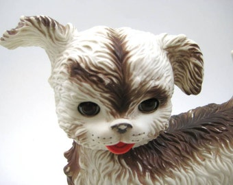 Vintage Soft Rubber Toy Dog with Sleepy Eyes, Cute Puppy, Working Squeaker, by Edward Mobley - Arrow Rubber & Plastic Corp.