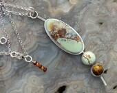 Citron Chrysoprase Smoky Topaz Multi Stone Sterling Silver Necklace
