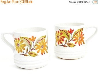 SALE Vintage Coffee Cups/Mugs  Set of 2 Capri Bake Serve'n Store Daisy Flower in orange green and brown