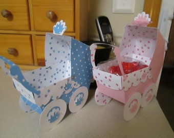 Royal Baby Carriage Favor Boxes  Set of 10