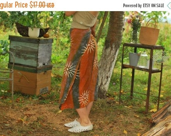 SALE Batik Dyed Wrap Skirt Mid Cotton Skirt VINTAGE 80S