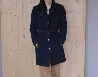 SALE Blue Denim Trench coat Vintage 70S womens winter coat