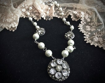 Vintage Bridal Necklace - Vintage Rhinestone Buttons and Pearls Beaded Necklace - Handmade - Vintage Bride - Weddings - Gifts