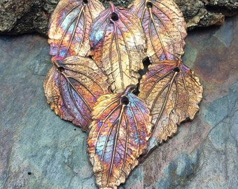 Unbe-Leafable Artisan Copper PMC  Leaf Pendant