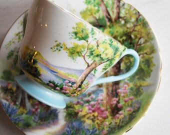 Shelley Woodland Teacup and Saucer, Vintage Tea Cup