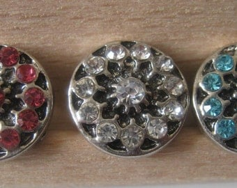 3 Rhinestone Snap-on Buttons, 12mm