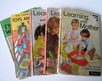 Lot 5 Vintage Ladybird Children's Books, Learning with Mother, Toys and Games to Make, The Wise Robin