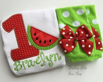 Baby Girl First Birthday Watermelon Outfit -- Summertime Sweet -- bodysuit and leg warmers in red and lime