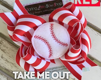 Baseball bow for girls - baseball theme in your team colors -- large baseball hairbow with optional headband