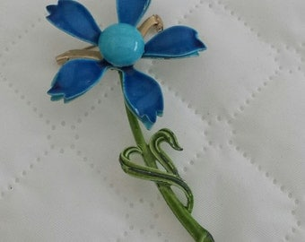 Vintage Metal Blue Flower Brooch Pin