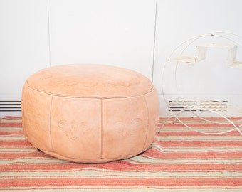 Antique Revival Leather Moroccan Pouf Ottoman - Nude
