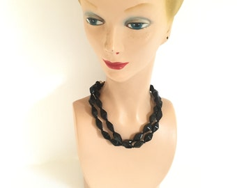 Black Glass Beaded Necklace Vintage Faceted Bicone Diamond Shape Beads