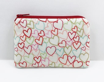 Mini Red Heart Coin Purse, Zipper Pouch, Small Gadget Case, Mini Wallet Card Pouch, Padded, Gift idea