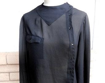 ON SALE black sheer blouse . asymmetrical button down . Organically Grown Shirts