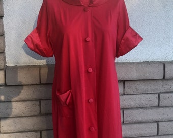 50s 60s Red Pajama Pants Set with Robe . 3 Piece Set by Shadowline
