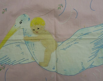 Vintage Baby crib sheet: stork and baby from the 1920-'30's  hand applique/embroidery/ color tinting  cotton  35 x 41 borders on four sides