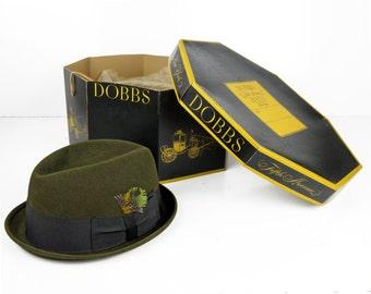 men's fedora, Dobbs, moss green, olive, original box, New York City, Fifth Avenue, 1950s, Dobbs Hat Box, excellent condition