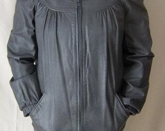 vintage 80's steel gray leather dressy bomber jacket coat S/M