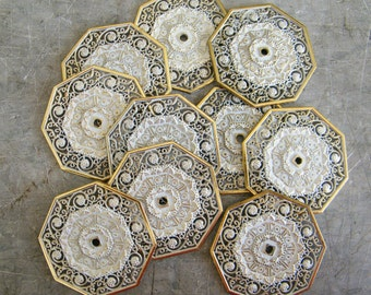 Vintage Ornate Filigree Drawer Cabinet Furniture Pull Back Plates 10 Pieces Backplate Hardware