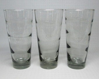 Libbey ripple glasses designed by Freda Diamond , set of three in gray , tall size .