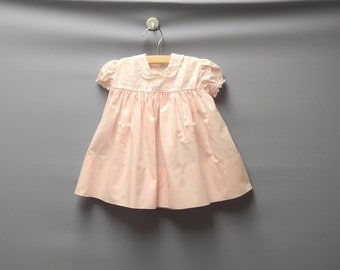 Vintage Baby Clothes, 1950's Pink and White Lace Baby Girl Dress, Vintage Baby Dress, Pink Baby Dress, Cotton Baby Dress, Size 6 Months