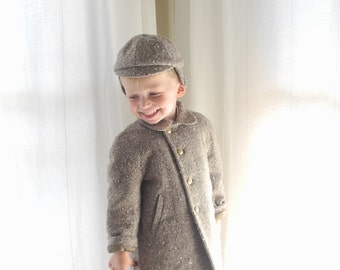 Vintage Baby Clothes, 1950's Chocolate Brown Wool Tweed Baby Boy Coat Set, Vintage Baby Boy Coat, Wool Baby Coat, Winter Baby Coat, Size 4T