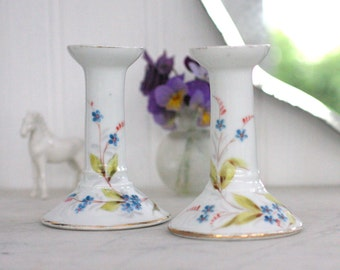 Pair Of Vintage China Candlesticks, Blue Floral Handpainted Candle Holder, Votive