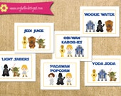 Printable Star Wars Inspired Food Tent Cards - Jedi Invite DIY boy girl knight darth vader r2 d2 yoda c-3po food card printable birthday