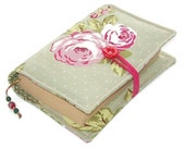 Handmade Bible Cover, Book Cover, ENGLISH ROSE GREEN