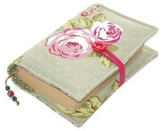 Handmade Book Cover, English Rose Green, Fabric Bible Cover, UK Seller