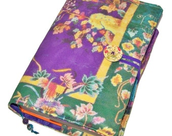 Large Bible Cover, Made to Measure Book Cover, Chinese Tapestry Plum and Jade design, UK Seller, Fabric Book Cover, Smaller Sizes Available