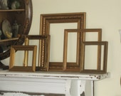 Collection of 5 Ornate Open Frames - Eclectic Vintage Wood Frames Gilded - Grungy Patina - Gallery