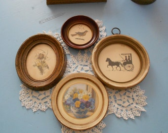 Vintage Cottage Wall Décor - Shabby Chic Gesso & Wood Frames - Eclectic Collection of 4 Glass Fronted Prints